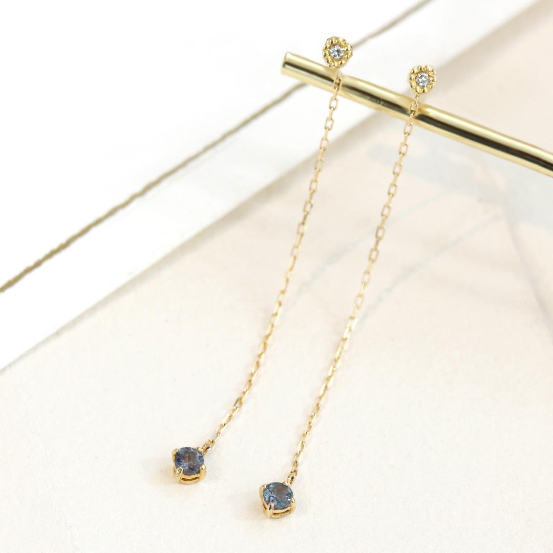 アレキサンドライト(ブラジル産)×ダイヤモンド K18/PTピアス・アリゼ