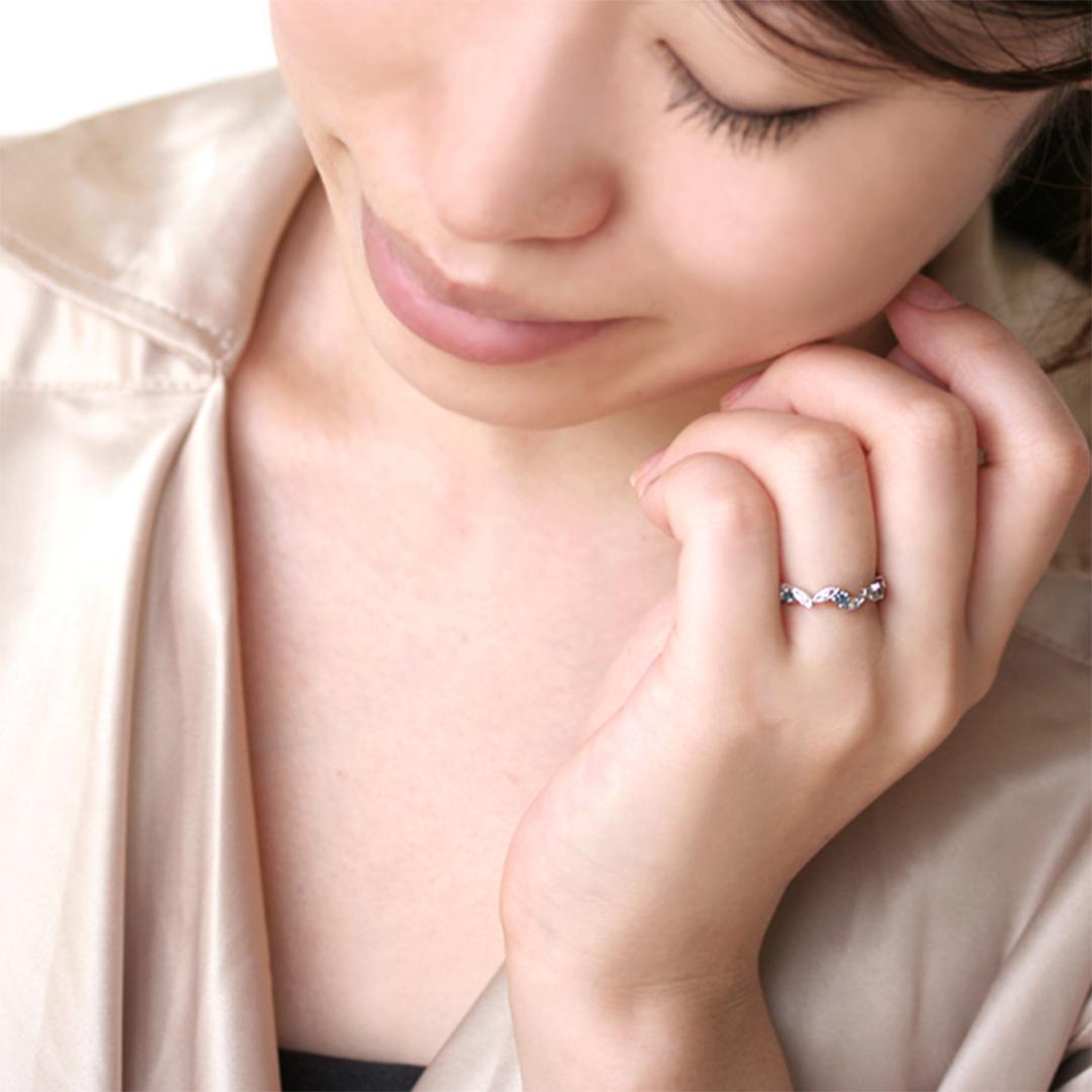 アレキサンドライト(ブラジル産)×ダイヤモンド K18/PTリング・リエール