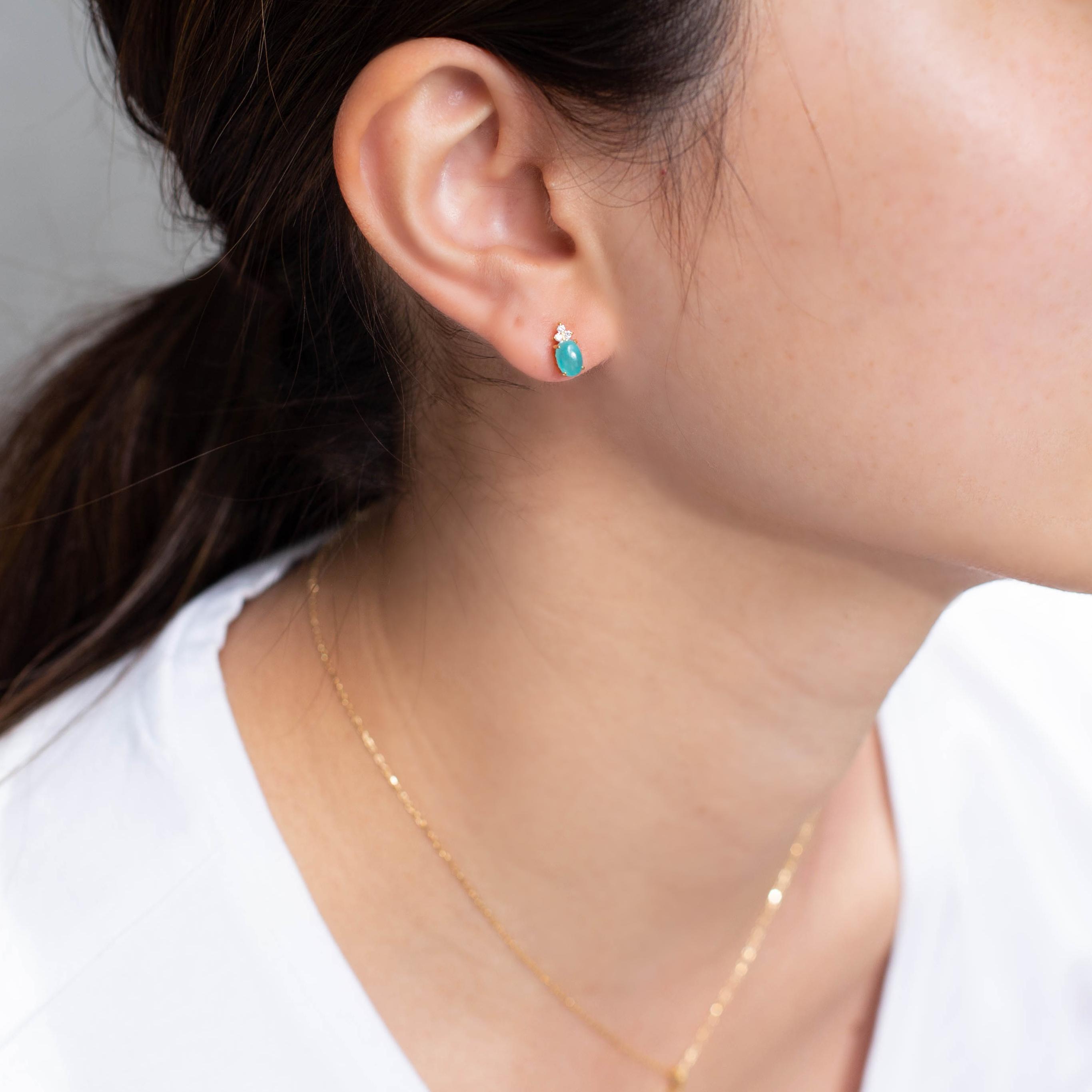アマゾナイト×ダイヤモンド K18/PTピアス・フラヴィ