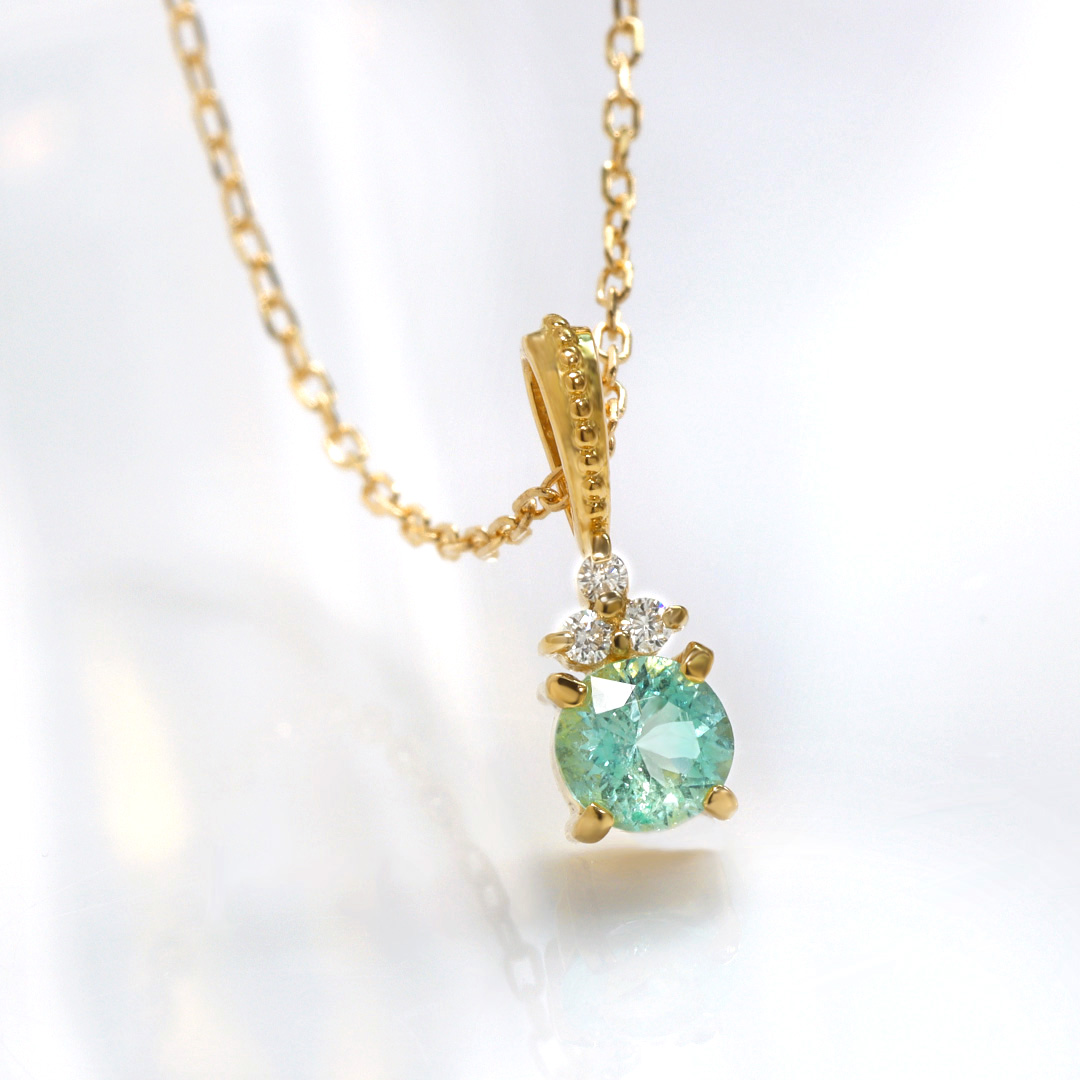 アンブリゴナイト×ダイヤモンド K18/PTペンダントトップ・フラヴィ