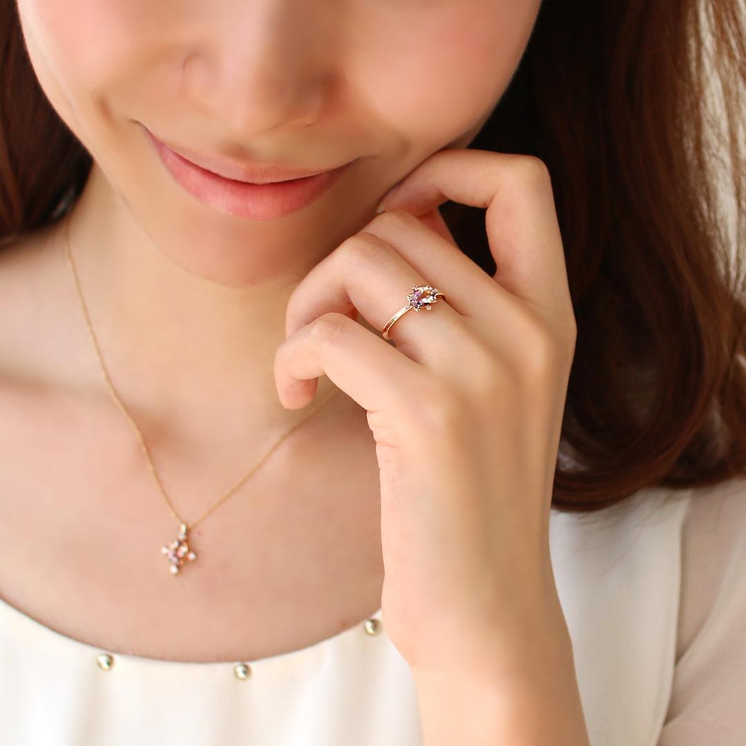 アメトリン(ボリビア産)×ダイヤモンドK18ネックレス・ブリジット
