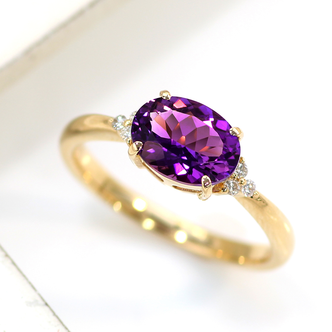 アメジスト(カシャライ産)×ダイヤモンド K18リング・フラヴィ