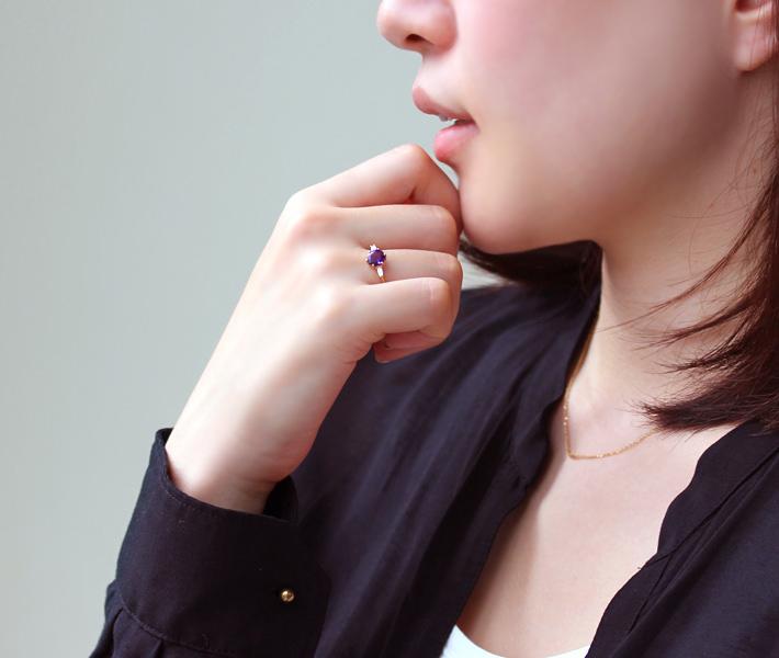 アメジスト(カシャライ産)×ダイヤモンド K18リング・リディ
