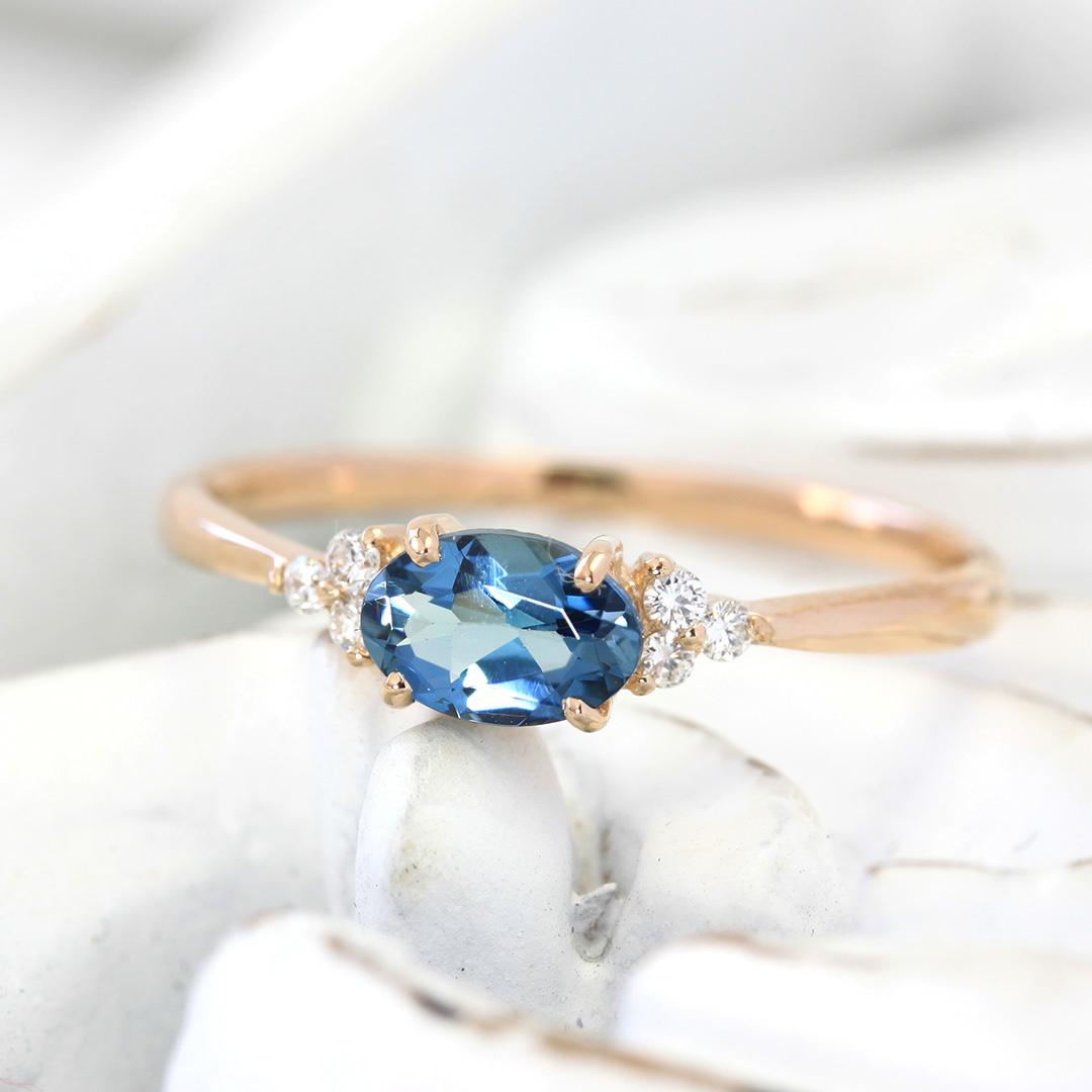 サンタマリアアクアマリン×ダイヤモンド K18/PTリング・フラヴィ