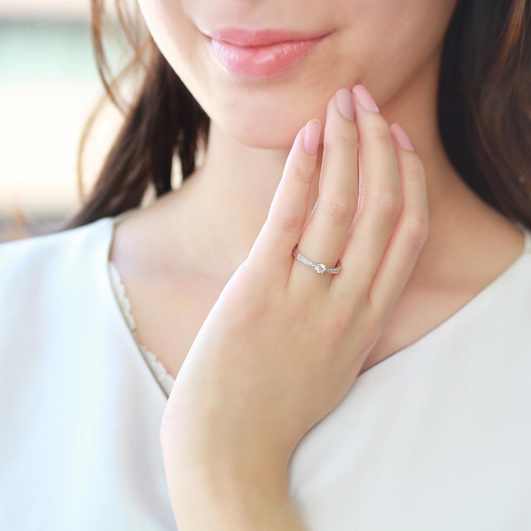 ダイヤモンド K18/PTリング・ミュゲ