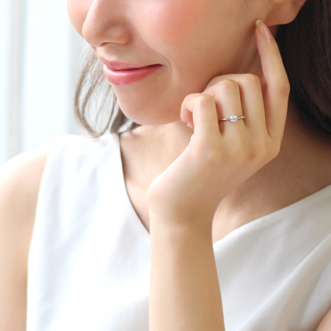 ダイヤモンド K18/PTリング・ソリティア