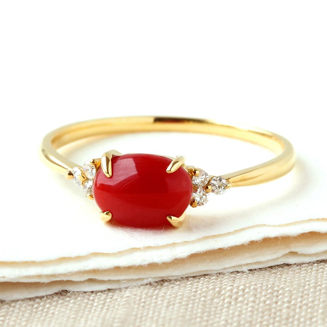 血赤珊瑚×ダイヤモンド K18/PTリング・フラヴィ