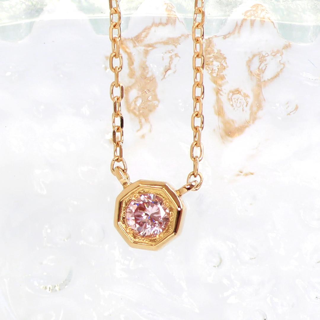 ピンクダイヤモンド K18/PTネックレス・アン