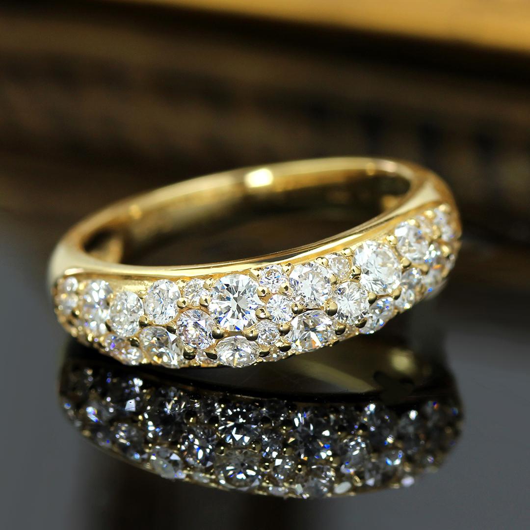 ダイヤモンド(SIクラス) K18/PTリング・ルミエールブーケ