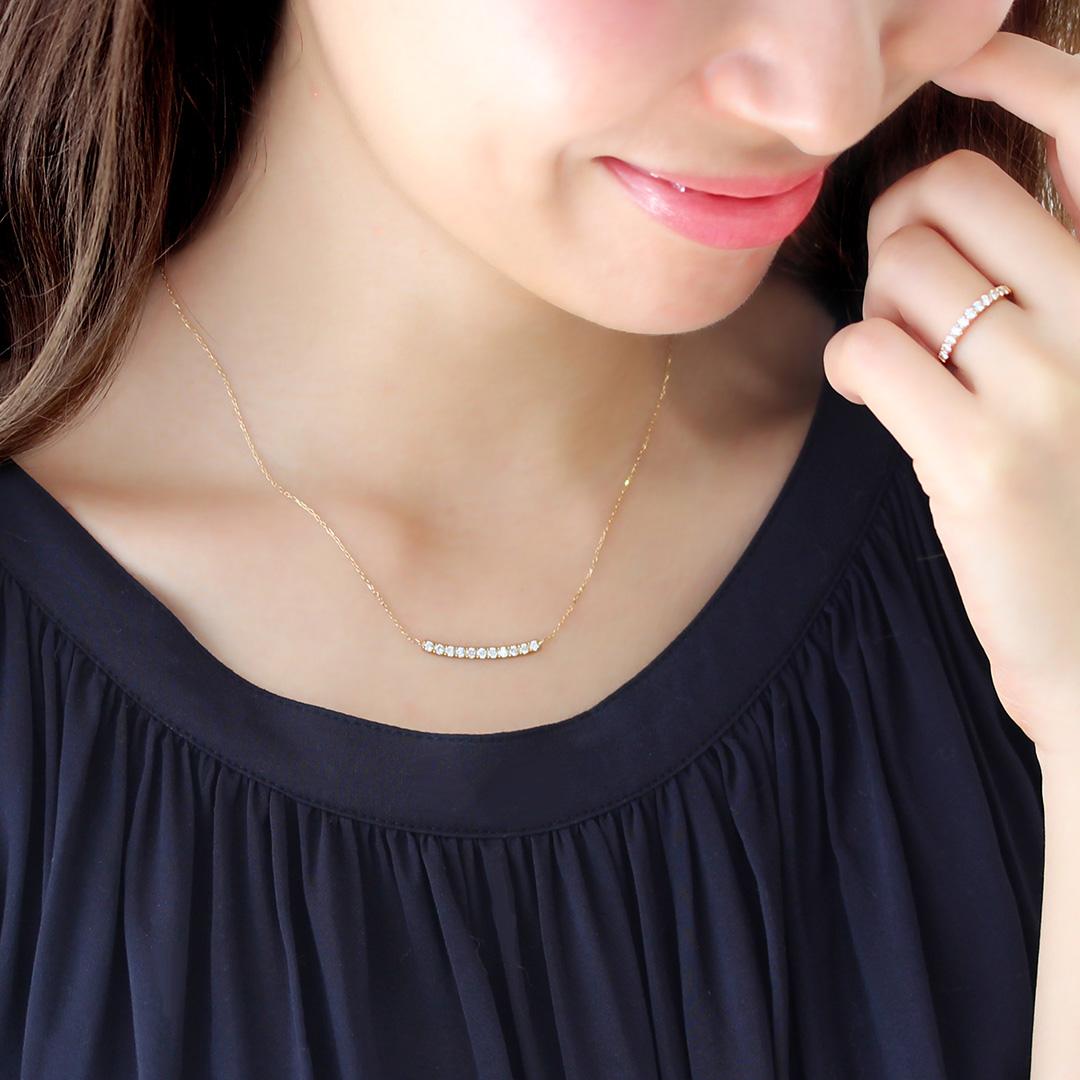 ダイヤモンド(VS-SIクラス)K18/PTネックレス・エマ