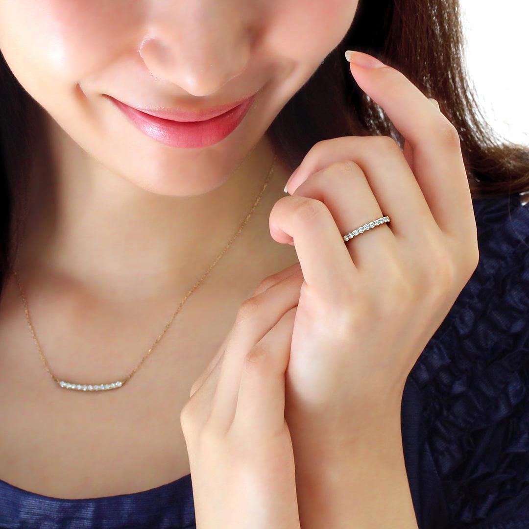 ダイヤモンド(VS-SIクラス)K18/PTリング・エマ