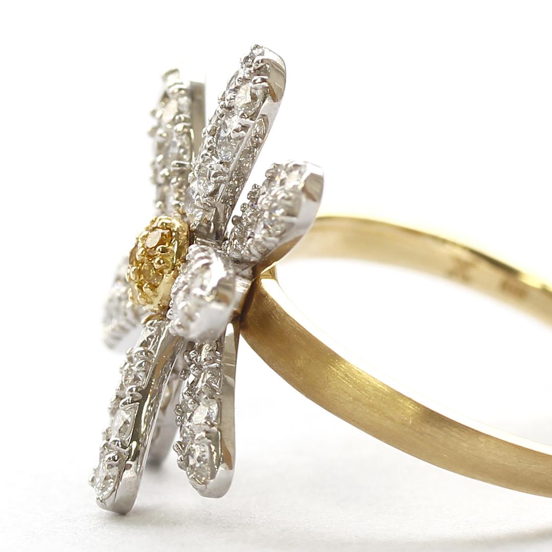 ダイヤモンド K18/K10リング・フルールブラン