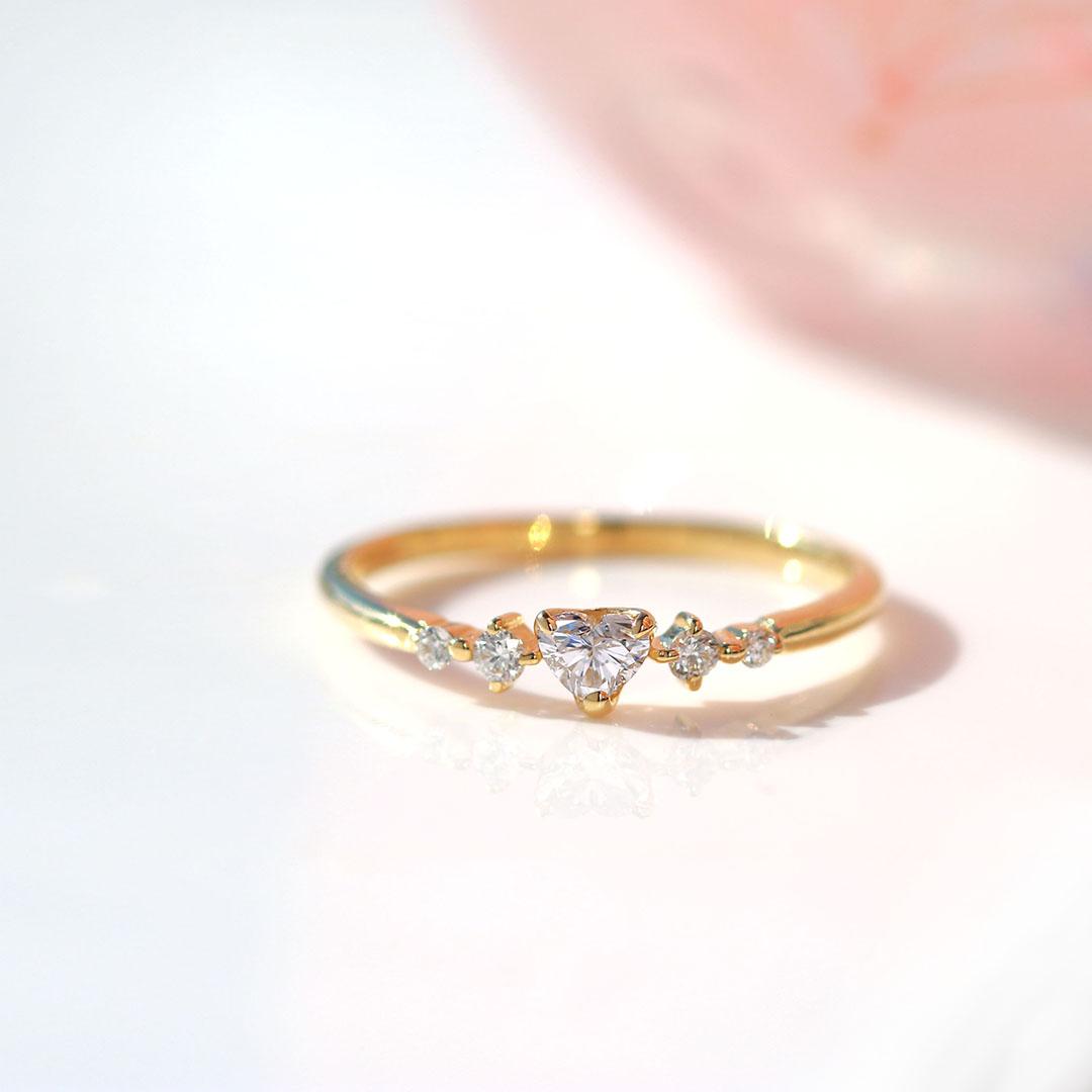 ダイヤモンド(SIクラス)×ダイヤモンド K18/PTリング・ルナクール