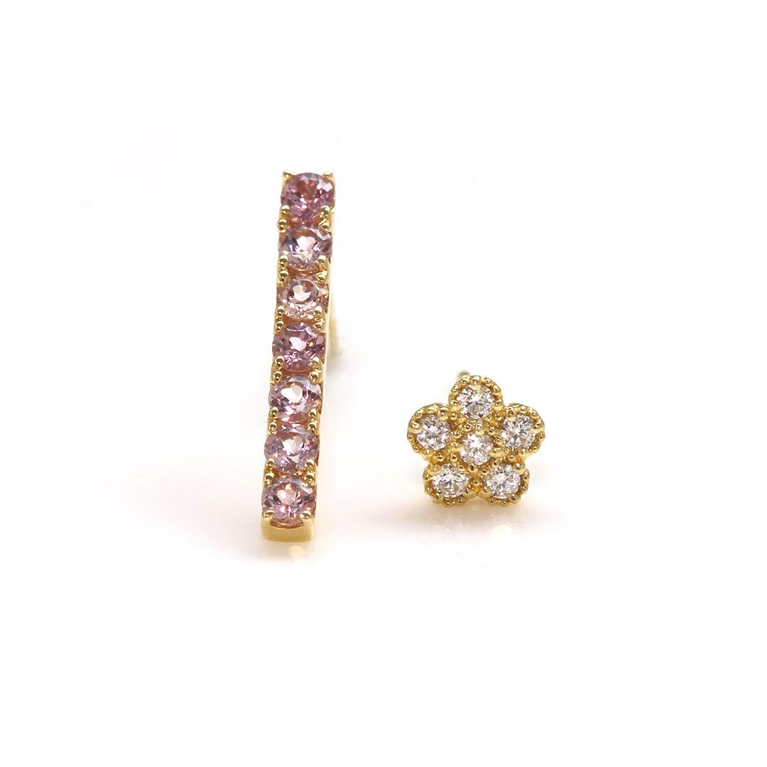ダイヤモンド K18ピアス・パルテール