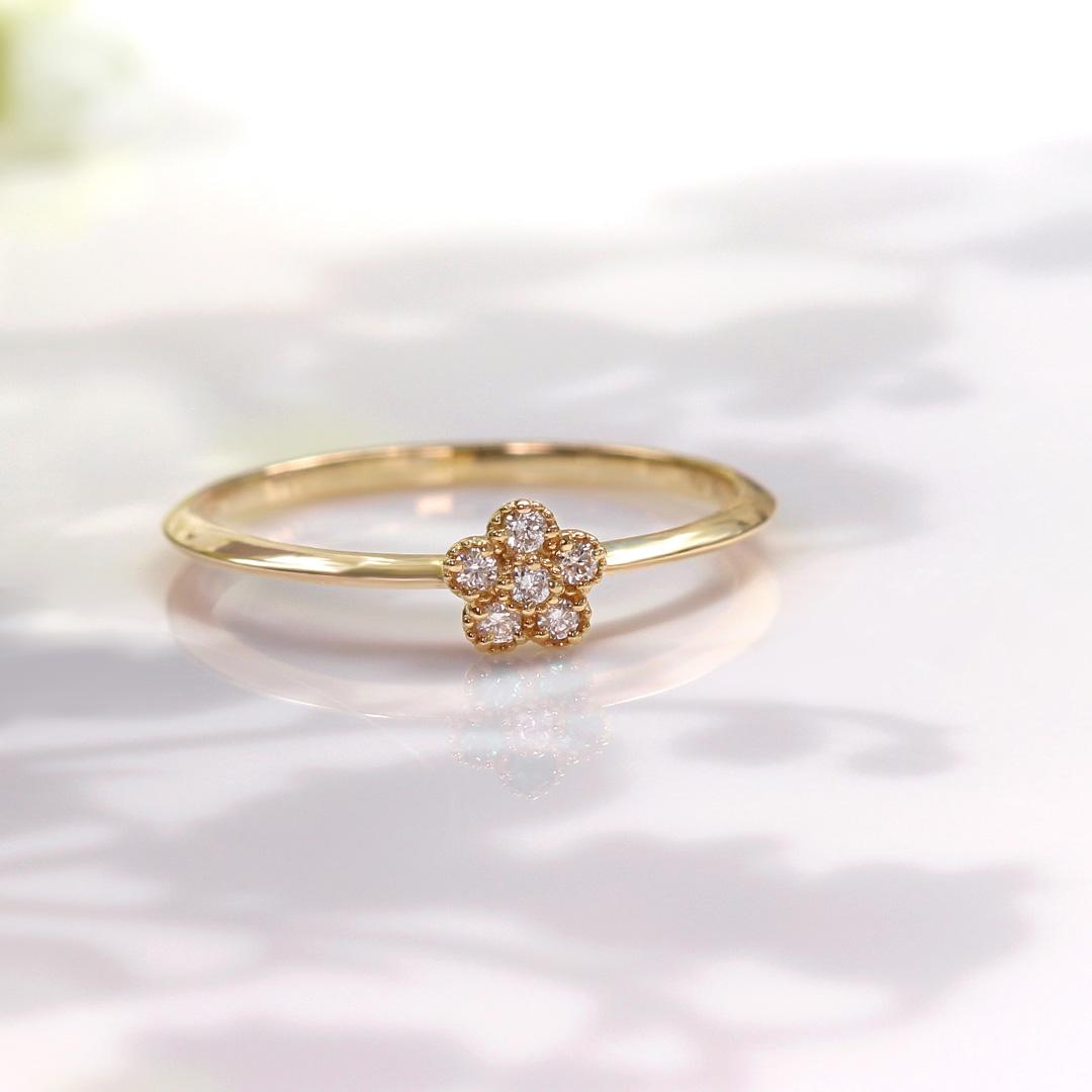 ダイヤモンド K18リング・パルテール