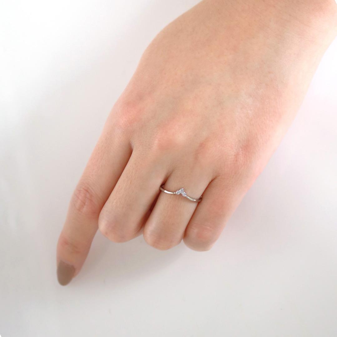ダイヤモンド K18リング・トロワ