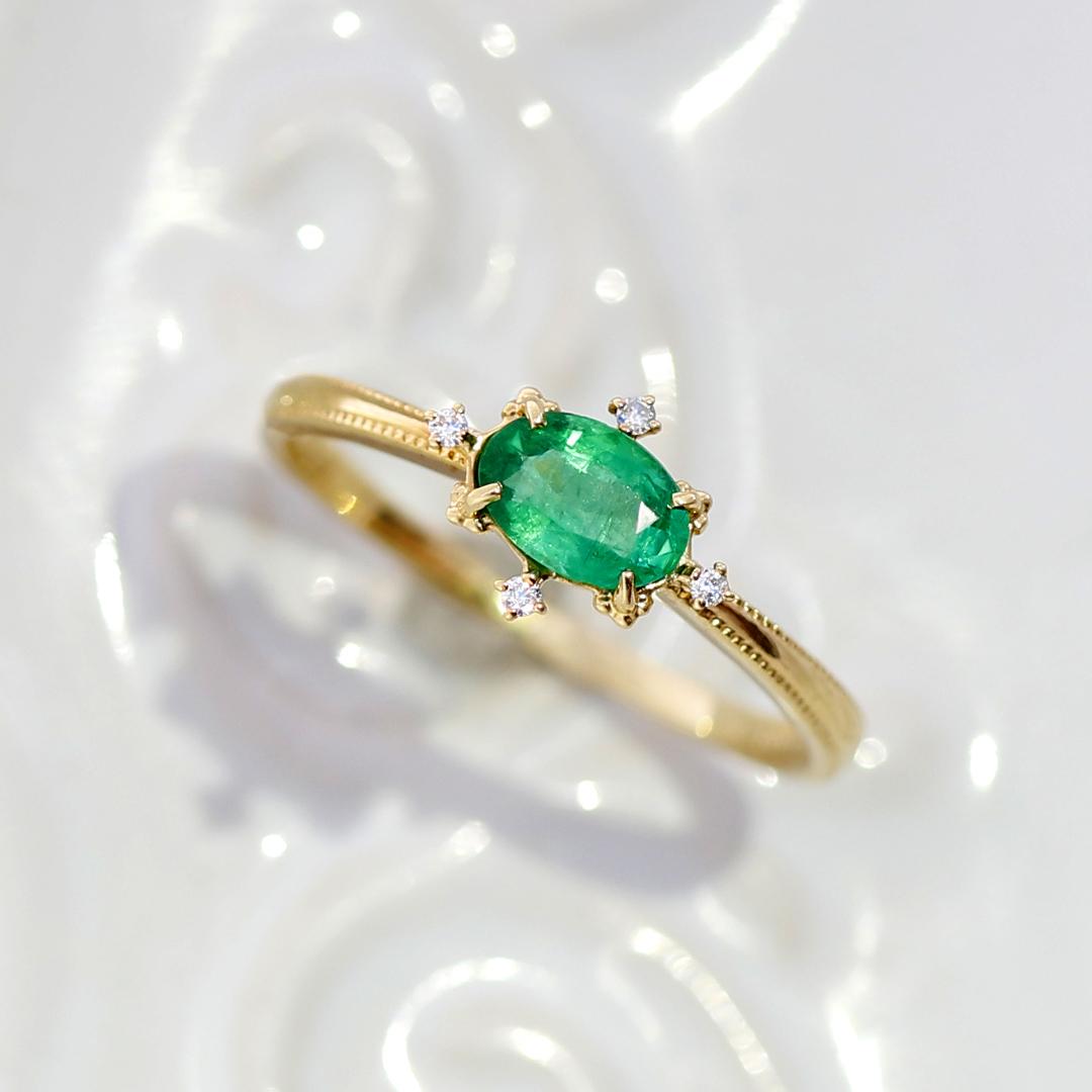エメラルド(ザンビア産)×ダイヤモンド K18/PTリング・ブリジット