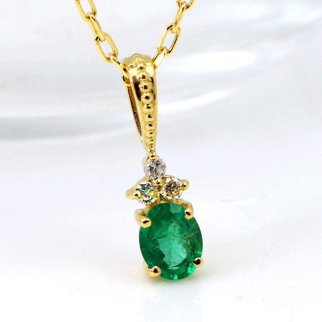 エメラルド(ザンビア産)×ダイヤモンド K18/PTペンダントトップ・フラヴィ