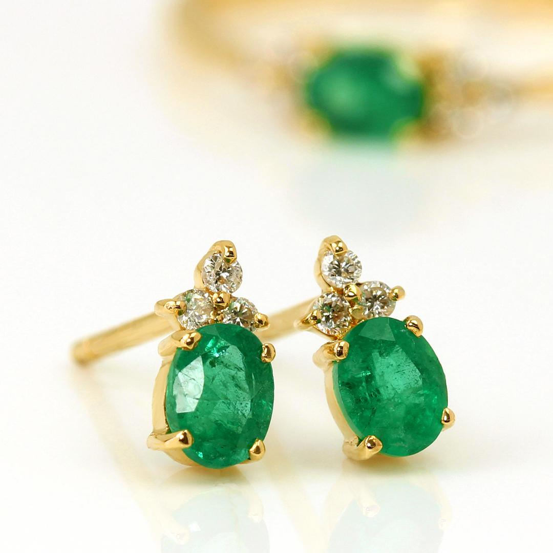 エメラルド(ザンビア産)×ダイヤモンド K18/PTピアス・フラヴィ