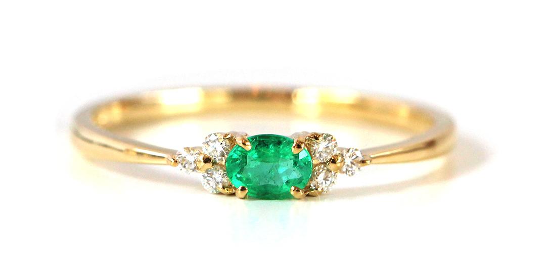 エメラルド(ザンビア産)×ダイヤモンド K18/PTリング・フラヴィ