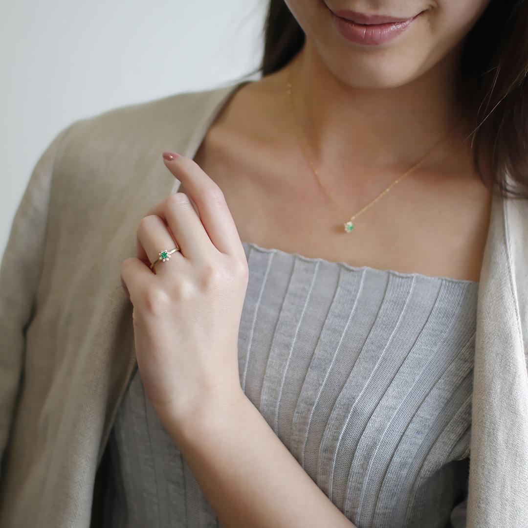エメラルド(ザンビア産)×ダイヤモンドK18リング・フルーレット