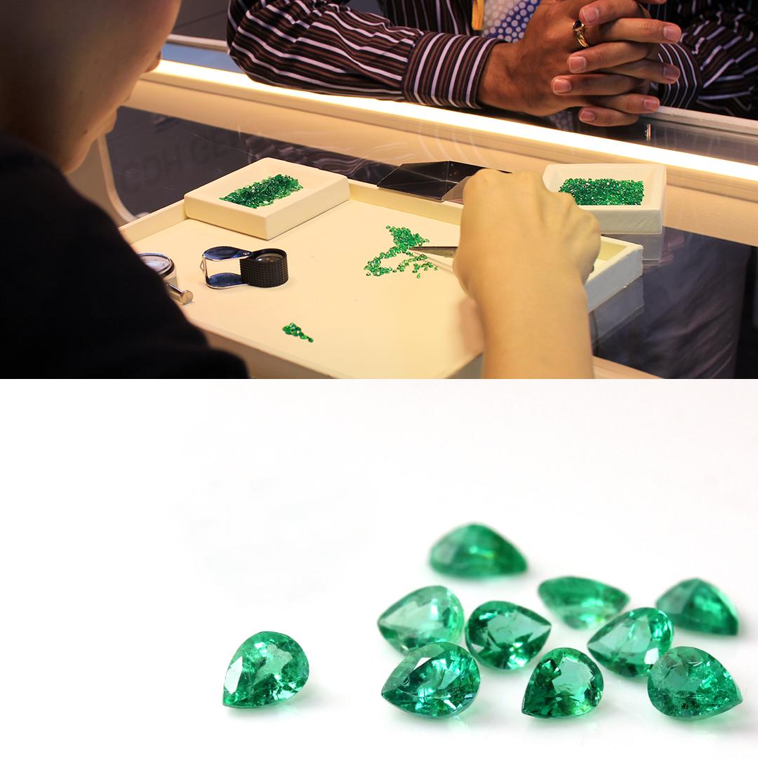 エメラルド(ザンビア産)×ダイヤモンド K18/PTリング・フランシーネ
