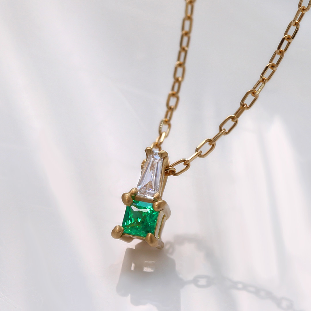 エメラルド(ザンビア産)×ダイヤモンド K18/PTネックレス・リディ