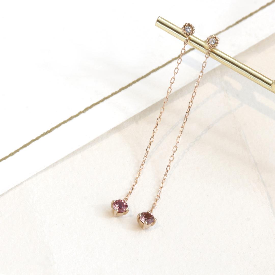 シャンパンガーネット(タンザニア産)×ダイヤモンド K18ピアス・アリゼ