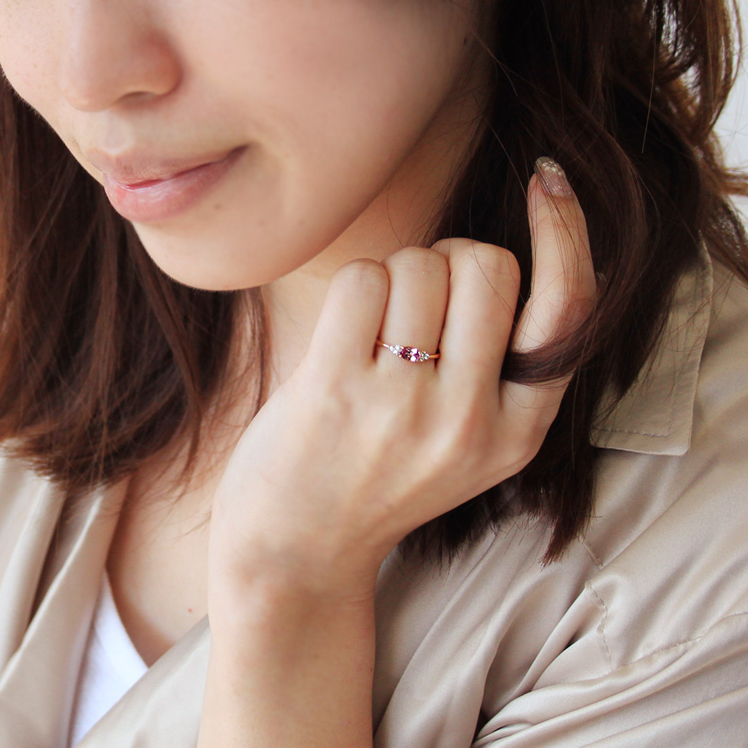 シャンパンガーネット(タンザニア産)×ダイヤモンドK18/PTリング・フラヴィ