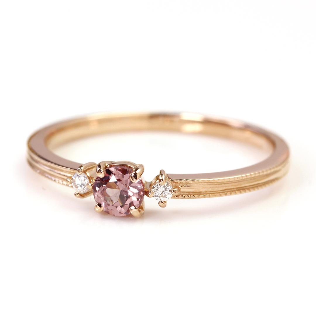 シャンパンガーネット(タンザニア産)×ダイヤモンド K18リング・リュシル