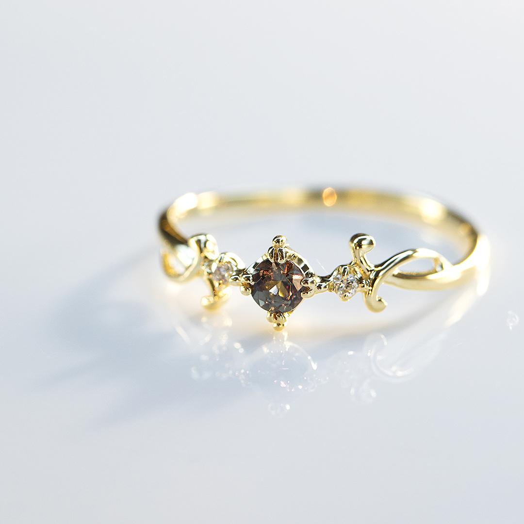 カラーチェンジガーネット×ダイヤモンド K18リング・ベレニス