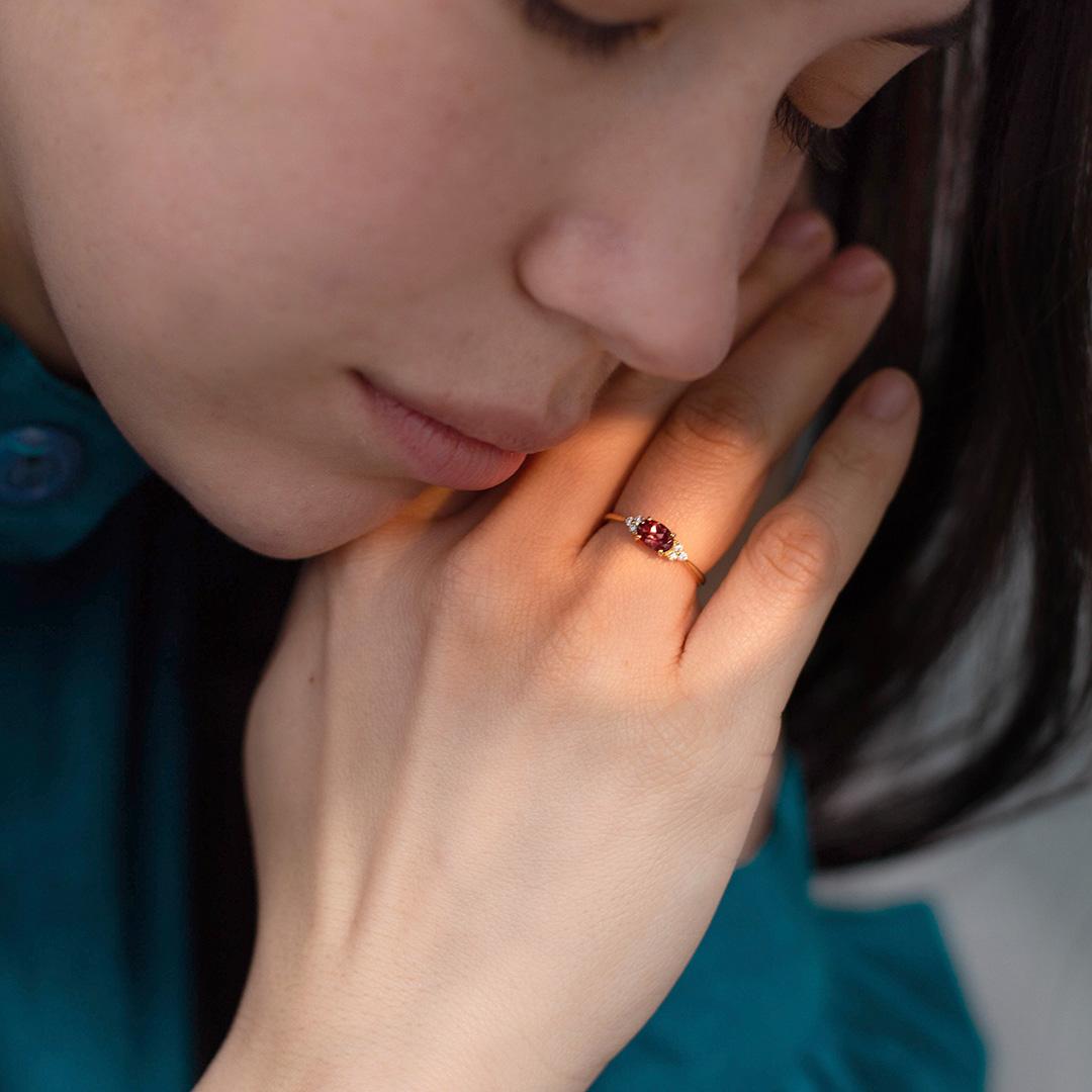 カラーチェンジガーネット×ダイヤモンド K18/PTリング・フラヴィ