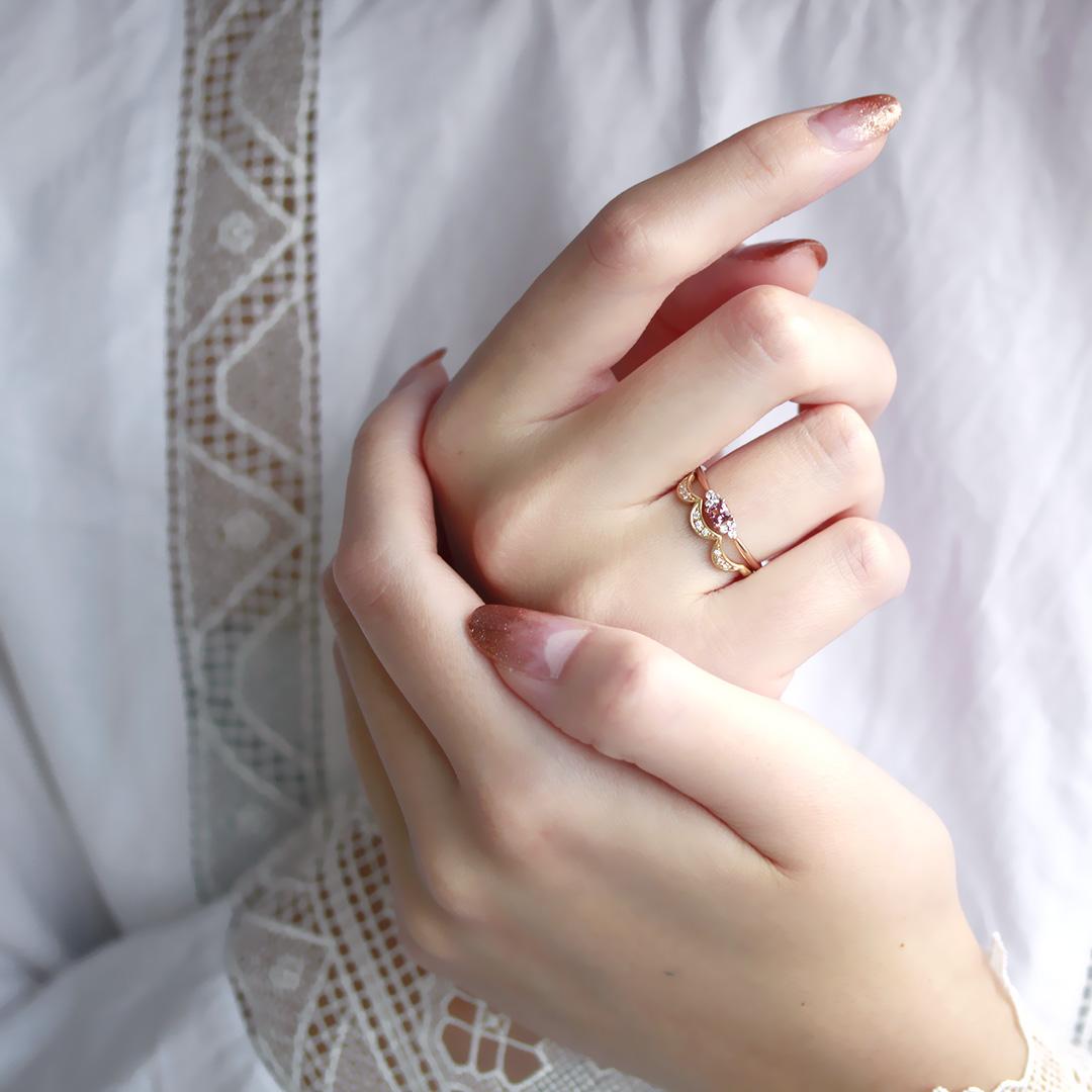 マラヤガーネット×ダイヤモンド K18リング・フラヴィ