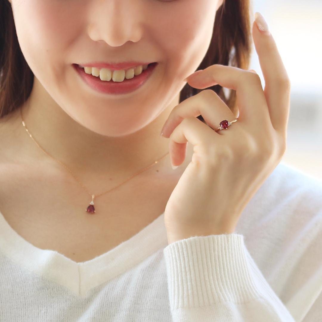 マラヤガーネット×ダイヤモンド K18リング・イネス