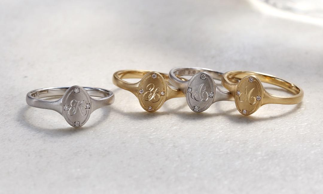 ダイヤモンド K18/PTリング・ポルトボヌール