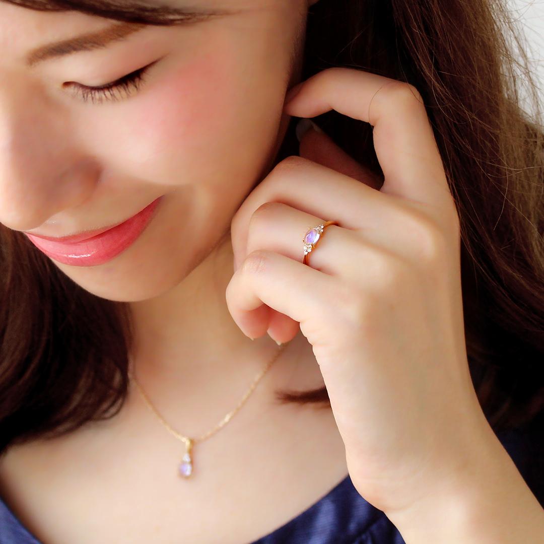 ロイヤルブルームーンストーン×ダイヤモンド K18/PTリング・フラヴィ