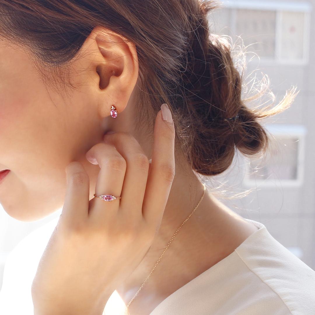 モルガナイト(アフリカ産)×ダイヤモンド K18/PTピアス・フラヴィ
