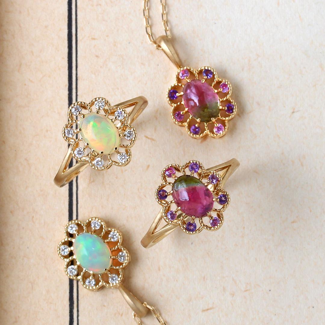 オパール(エチオピア産)×ダイヤモンドK18リング・フーラ