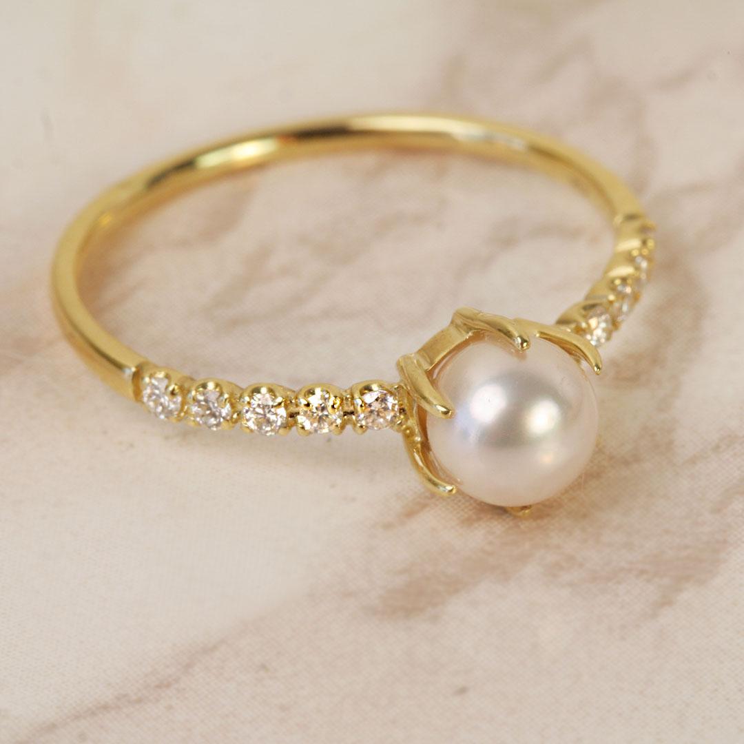 あこや真珠×ダイヤモンドK18/PTリング・ポーラ