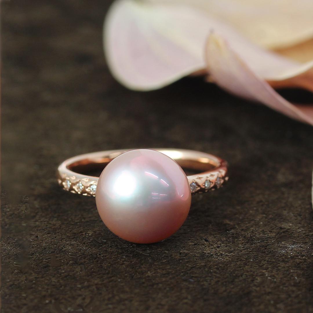 湖水真珠(パープル)×ダイヤモンドK18リング・グラン