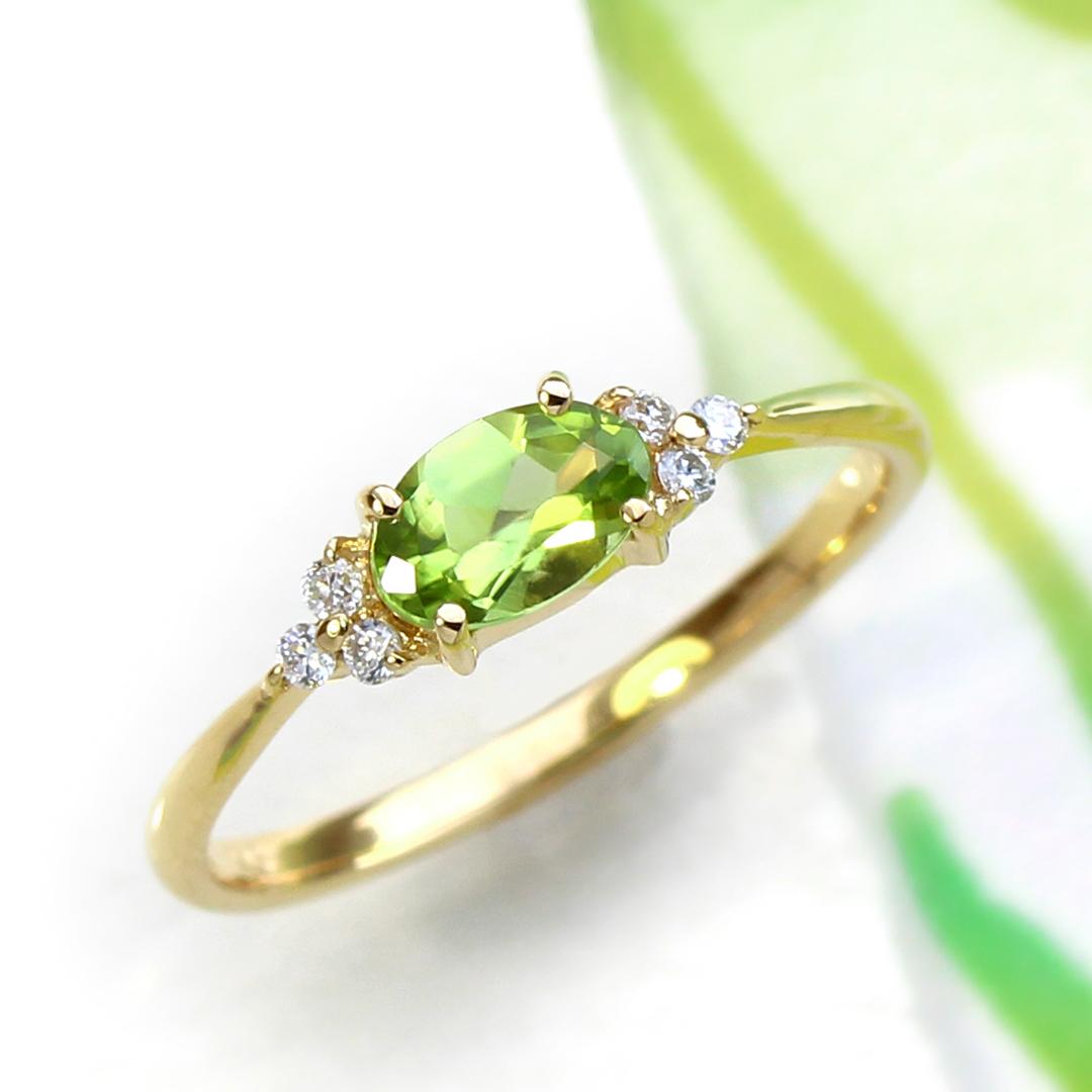 ペリドット×ダイヤモンド K18/PTリング・フラヴィ