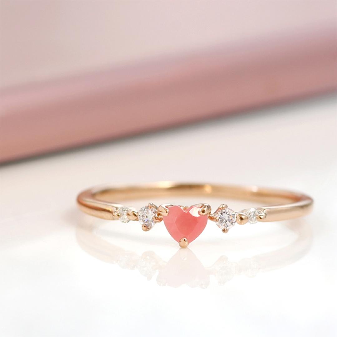 ロードクロサイト(北海道産)×ダイヤモンド K18リング・ルナクール