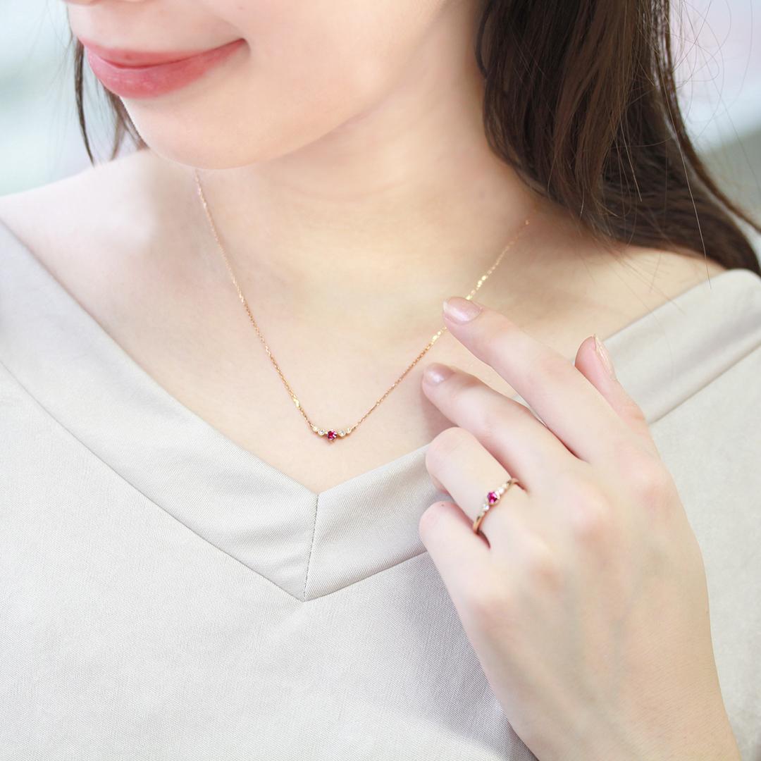ルベライト(ブラジル産)×ダイヤモンド K18ネックレス・フランシーネ
