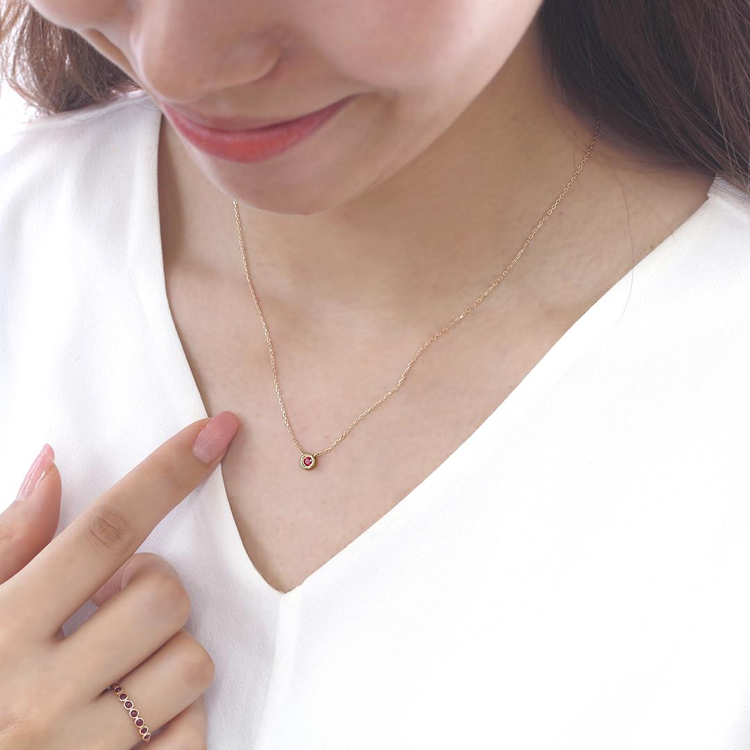 ルビー(ミャンマー産) K18/PTネックレス・アン