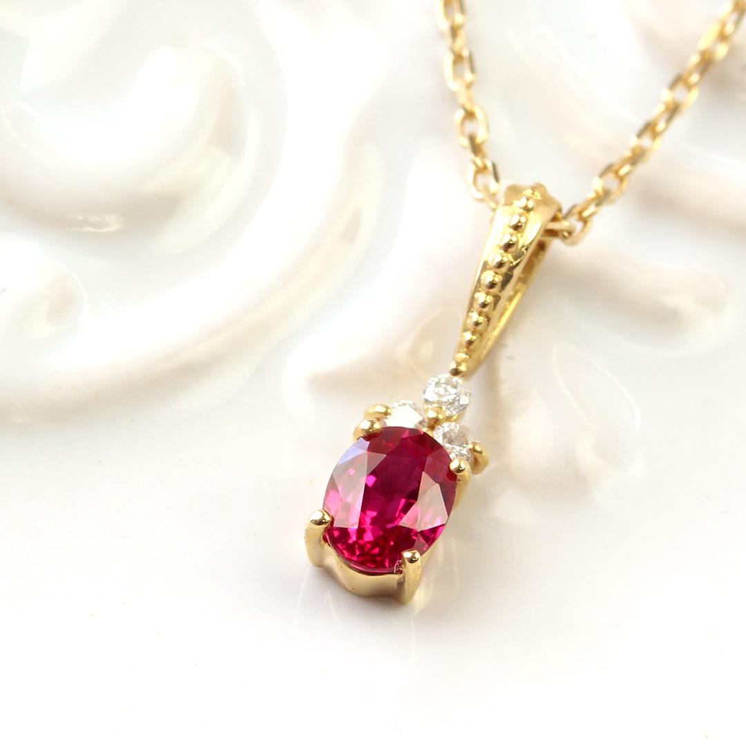 ルビー(ミャンマー産)×ダイヤモンド K18PTペンダントトップ・フラヴィ