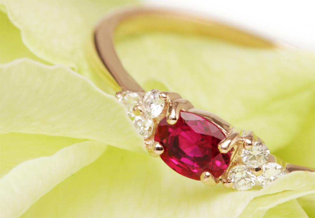 ルビー(ミャンマー産)×ダイヤモンド K18PTリング・フラヴィ