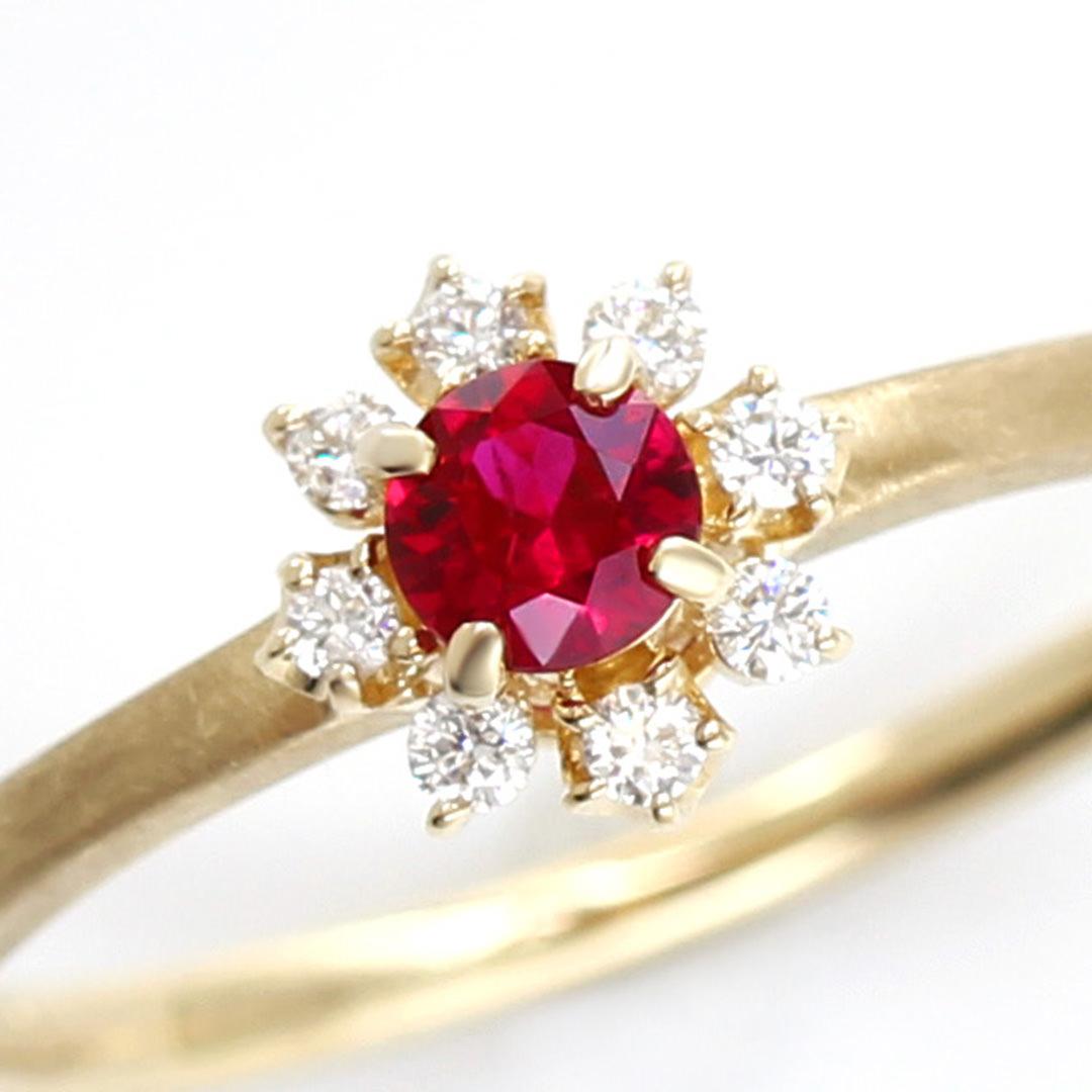 ルビー(ミャンマー産)×ダイヤモンド K18/PTリング・フルーレット