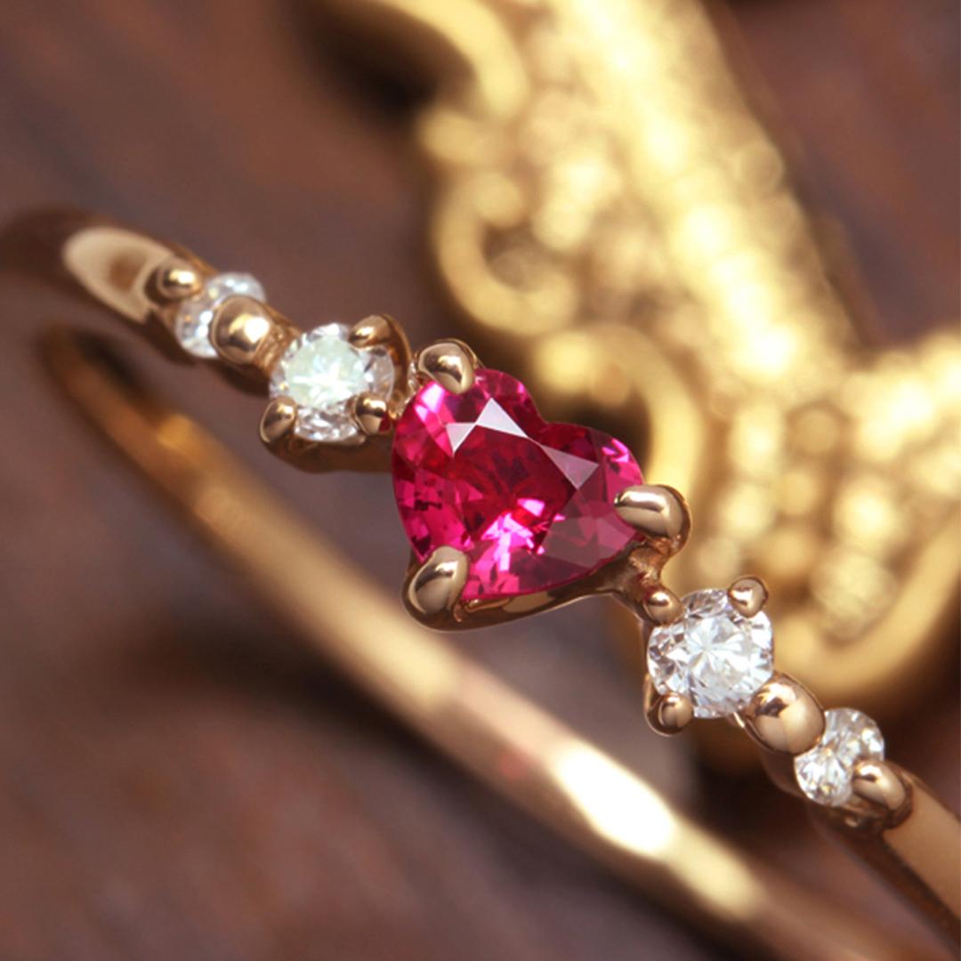 ルビー(ミャンマー産)×ダイヤモンド K18リング・ルナクール