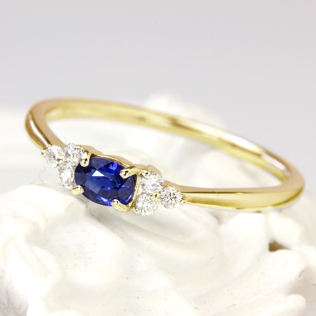 ブルーサファイア(マダガスカル産)×ダイヤモンド K18/PTリング・フラヴィ