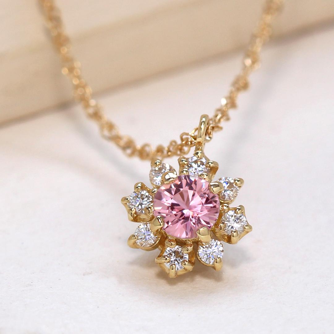 パパラチアサファイア(マダガスカル産)×ダイヤモンドK18/PTネックレス・フルーレット